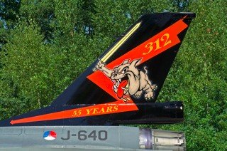 Tail of F-16AM, J-640 'Bonzo with 55 years 312 squadron markings', 312 squadron