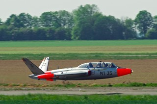 Fouga CM.170R Magister, MT-35, 1 W / 11 Esc. in take off from the parallel runway at Beauvechain, during display rehearsals