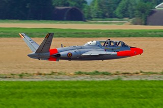 Fouga CM.170R Magister, MT-35, 1 W / 11 Esc. flying really low above the parallel runway at Beauvechain, during display rehearsals