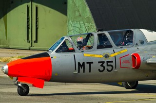 Close up of nose section of Fouga CM.170R Magister, MT-35, 1 W / 11 Esc. with pilot Lt. Col. Paul Rorive inside