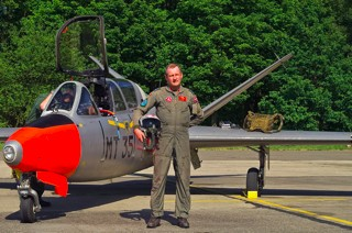 Lt. Col. Paul Rorive in front of Fouga CM.170R Magister, MT-35, 1 W / 11 Esc.