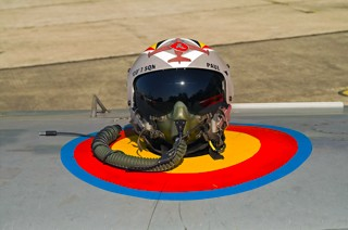 Helmet of Lt. Col. Paul Rorive on the wing of Fouga CM.170R Magister, MT-35, 1 W / 11 Esc.
