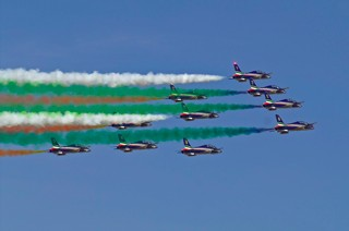 Frecce Tricolori after the Schneider turn