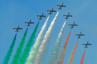Frecce Tricolori fly past