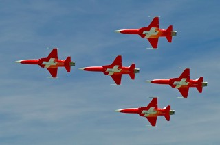 Patrouille Suisse in Supercanard formation