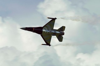 F-16 demo team in action at their homebase air show at Volkel 2007
