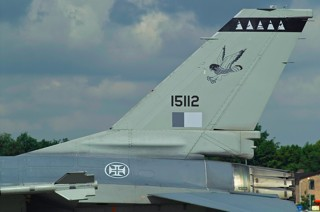 Tail of General Dynamics F-16A-15BB-CF Fighting Falcon, 15112, BA 5 / Esq 201