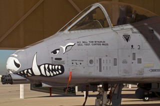 A-10C, 80-0232 / BD, 917 W / 47 FS close up of the warthog nose