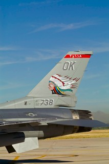 Close up of the tail with Indian markings of F-16CG-42CF, 90-0738 / OK, 138 FW / 125 FS