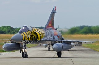 Mirage 2000C, 12-YB / 99, EC.01.012 with special tiger colour scheme is taxiing